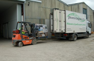 One of our lorries being loaded with customer orders